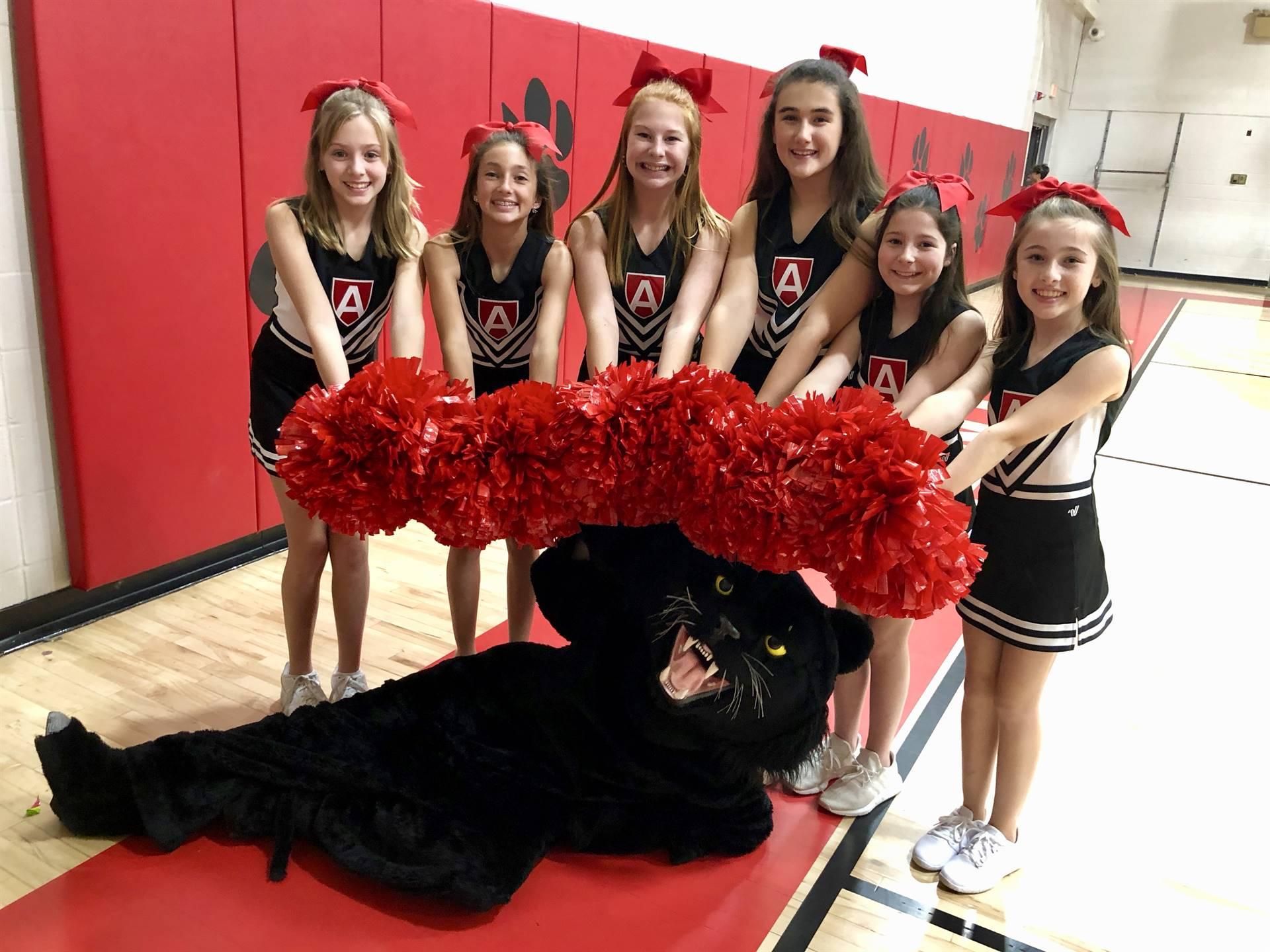 cheerleaders and mascot